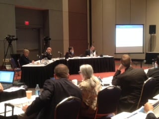 The Massachusetts Gaming Commission met during a public hearing at the MassMutual Center Tuesday.