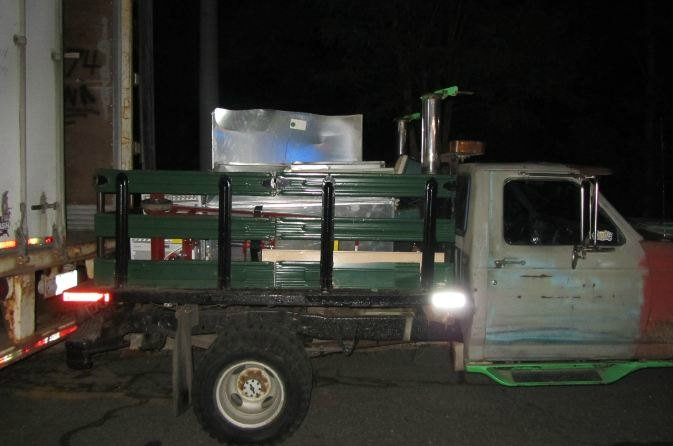 The suspect's pickup truck that was being loaded with stolen merchandise.