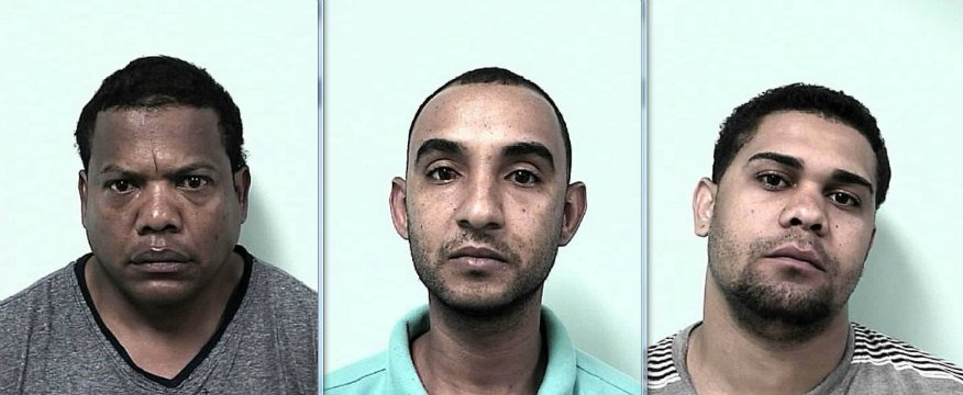 "From left to right: Mug shots of Sandro Tavero-Mora Jose Ayala, aka ""Laureano,"" 43, Juan Munoz-Vasquez, 28, and Fabian Monegro, aka ""Yorki,"" 24."