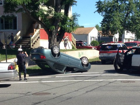 Springfield police responded to a rollover accident at the intersection of Redlands Street and Saint James Boulevard Monday afternoon.