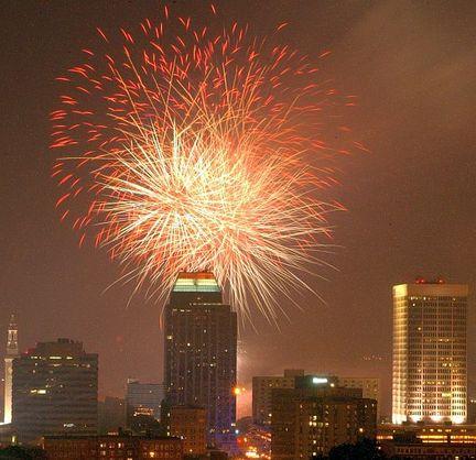 Fireworks light up the Springfield skyline. (MassLive)