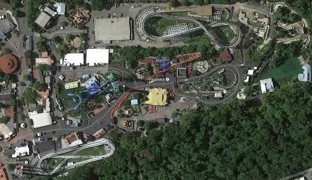 The Cyclone (top right) sits on a large plot of land alongside Route 159 in the north end of Six Flags New England. (Google)