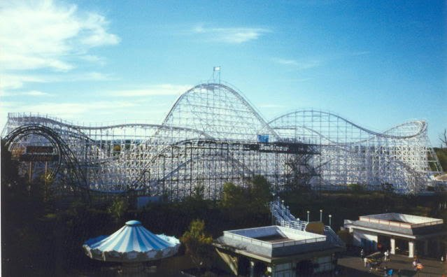 A classic image of the Cyclone and Black Widow during the Riverside Park years.