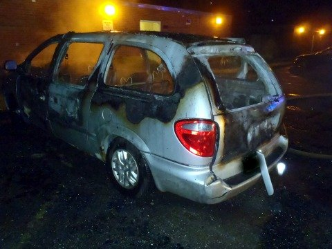 The minivan that was found engulfed in flames on Berkshrie Avenue early Thursday morning.