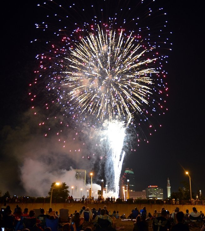 Fireworks being launched from the Memorial Bridge, which spans the CT River. (MassLive)