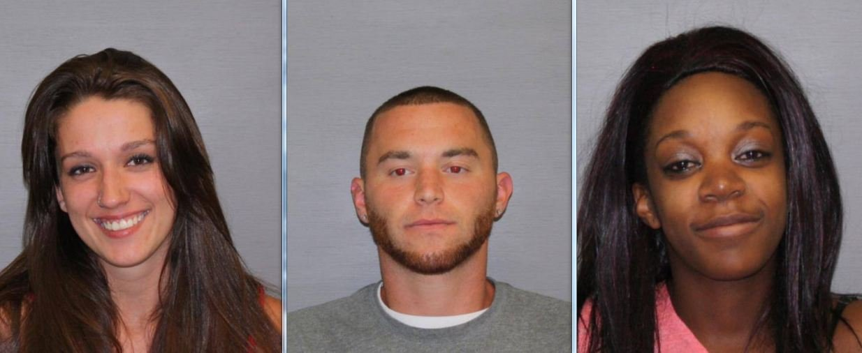 Mug shots of Leah Anne Wingler, 21, of Turners Falls, Jacob Edward Gallipault, 24, of 93 Boyle Rd. Gill, and Kristen Matthews, 24, of 56 Juniper Ct., Greenfield.