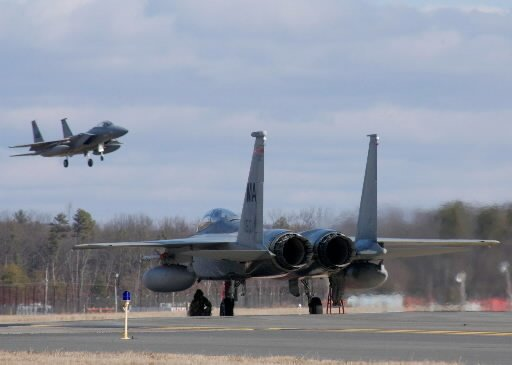 An F-15 Eagle in the 104th Fighter Wing at Barnes Air National Guard Base in Westfield. (MassLive)