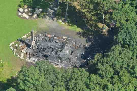 The home at 675 North Farms Road was consumed by flames after it was struck by lightning Wednesday night. (MassLive)