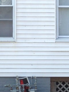 Bullet holes could be seen in the front side of the home at 273 Centre St.