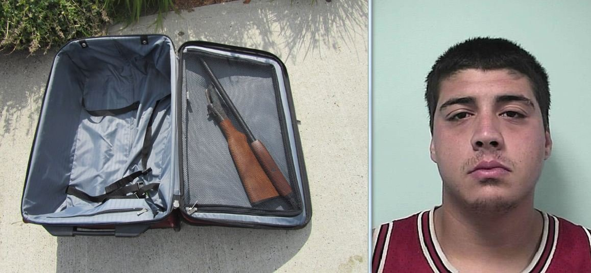 Mug shot of Ricardo Baez and the shotgun he attempted to sell. (Springfield Police Department)