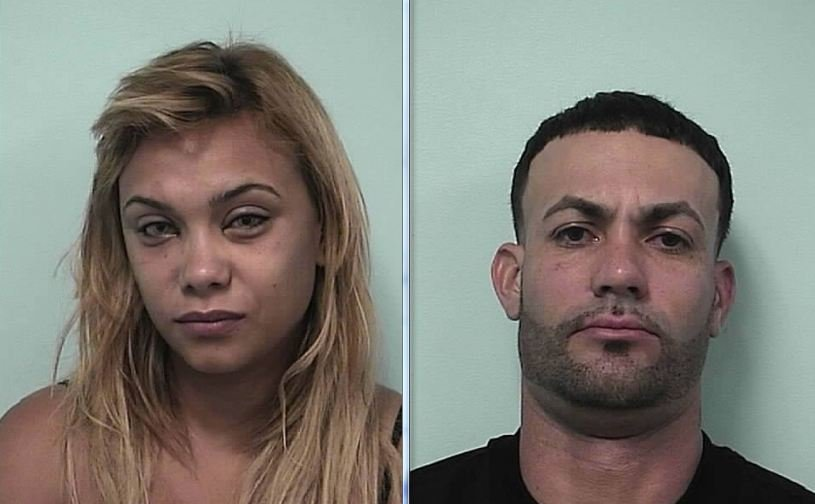 Mug shots of Jessica D. Velazquez, 32, of 16 Alderman St., Springfield, and Samuel P. Oquendo, 29, of 17 Monroe St., Holyoke. (Springfield Police Department)