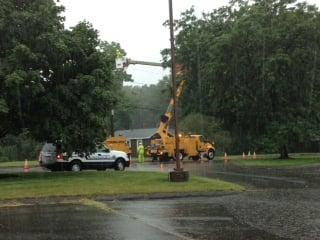 A transformer issue on Feeding Hills Road near Hudson Drive closed one lane of traffic.