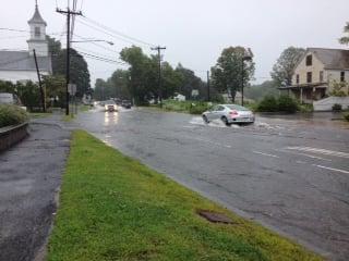Flooding on South Westfield Street in Southwick.