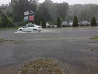 A flooded intersection in Westfield.