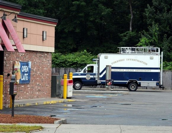 The Springfield Police Department Forensic Investigation unit was on scene in the Wendy's parking lot on Allen Street Friday. (MassLive)