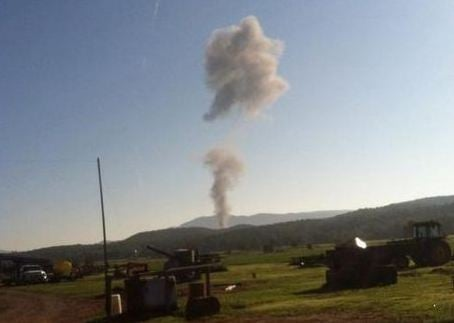 The F-15 C Eagle went down in Deerfield, VA at about 9 a.m. (Twitter)