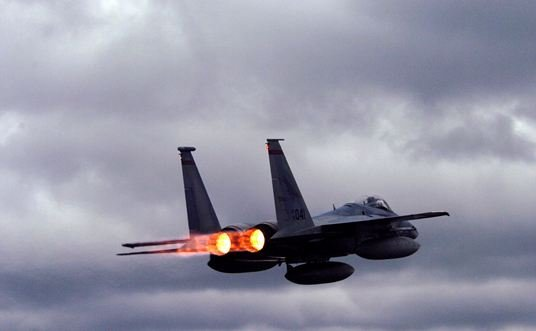 An F-15 C Eagle take with full afterburners (U.S. Air Force)