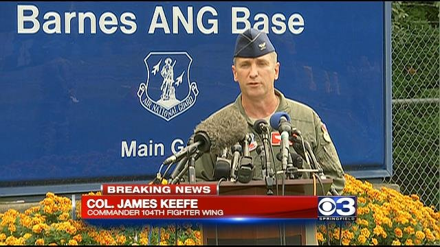 104th Fighter Wing Commander Col. James Keefe during a news conference at Barnes Air National Guard Base Wednesday afternoon.