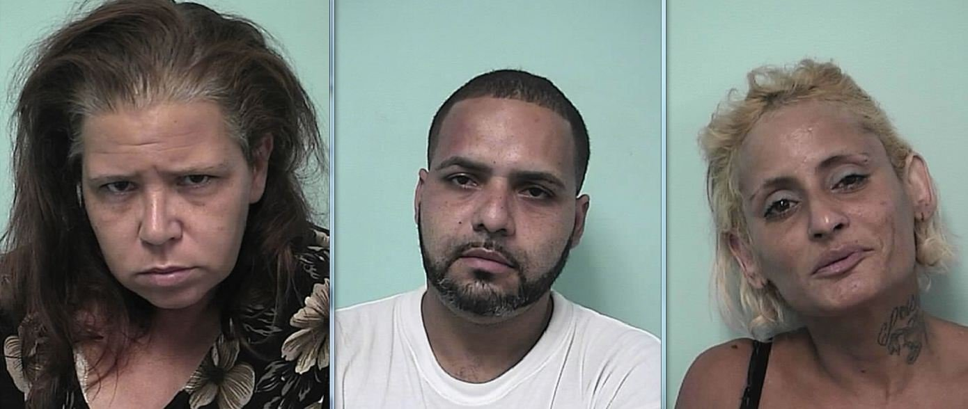 Mug shots of Candida Hamel-Hawley, Jorge Oquendo & Luz Feliciano. (Springfield Police Department)