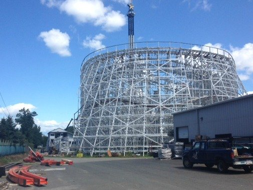 Pieces of Wicked Cyclone's orange steel track have begun to arrive at Six Flags New England in Agawam.