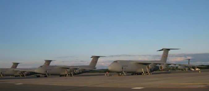 The C-5 fleet at Westover Air Reserve Base.