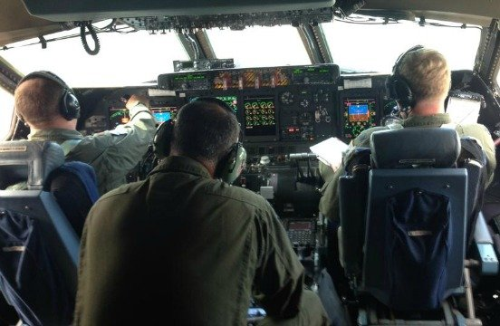 Inside the cockpit of the C-5.
