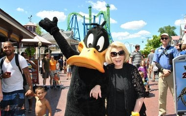 Joan Rivers posed with Daffy Duck while visiting Six Flags New England in July 2012. (MassLive)