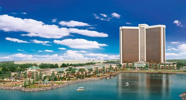 A rendering of Wynn Resorts' $1.6 billion hotel and casino proposal in Everett, MA.