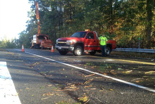 Mountain Road in Easthampton was closed Wednesday.