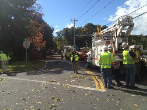 Crews were assessing damage throughout Easthampton.