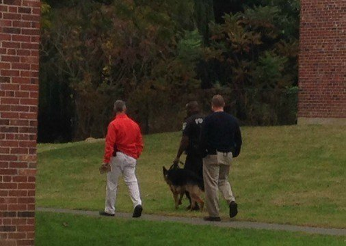 A K9 officer was called to the scene to help locate the suspect.