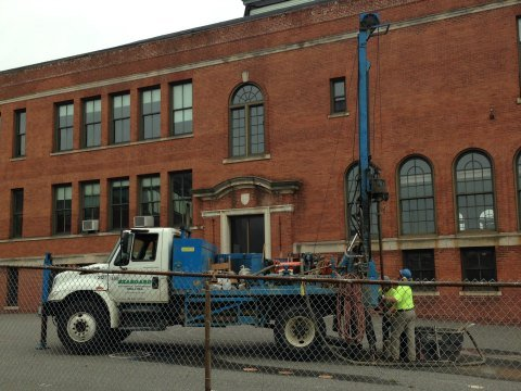Crews began taking soil samples in the area of Union Street on Wednesday morning.