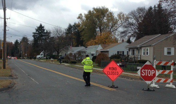 Powder Mill Road in Southwick was temporarily closed due to a natural gas leak.