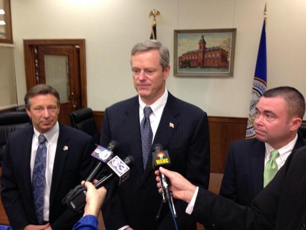 Gov.-elect Charlie Baker met with West Springfield Mayor Ed Sullivan on Friday.