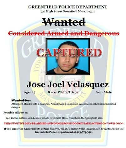 25-year-old Jose Velasquez was captured in Springfield. (GPD)