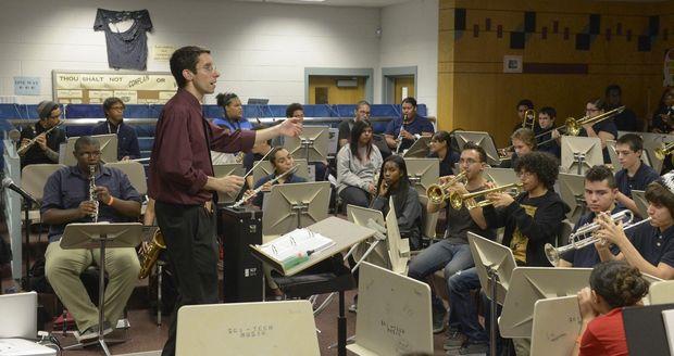 Inspiring and enthusiastic Sci Tech music teacher, Gary Bernice, leads the band program. (MassLive)