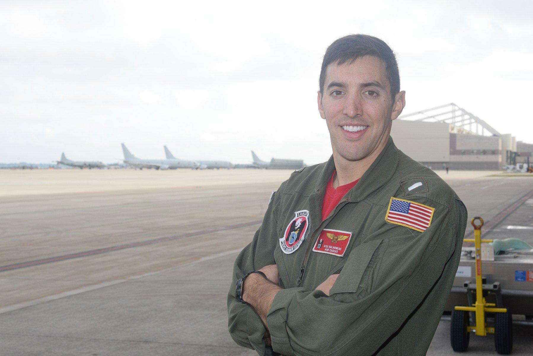 Lt. j. g. Kyle Galarneau serves as a naval flight officer. (U.S. Navy)