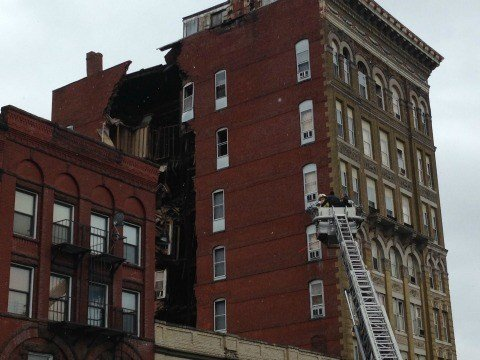 The Essex House in Holyoke has begun to collapse.