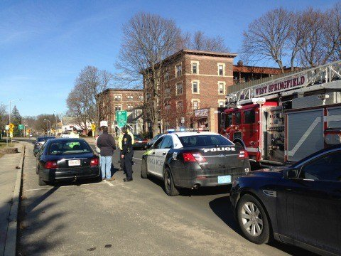 Two pedestrians were struck by cars on Elm Street in West Springfield on Monday morning.