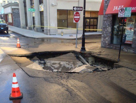 State Street is closed between Main and Maple streets due to a water main break that caused a sink hole.