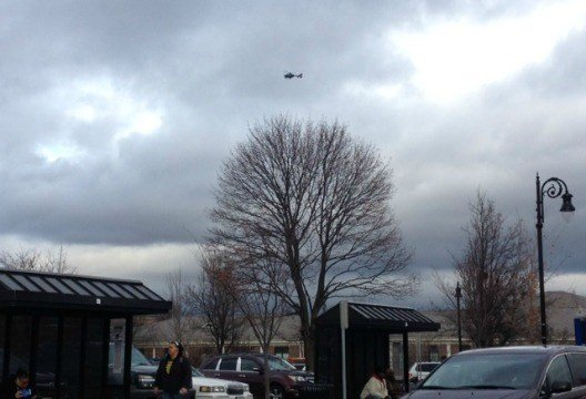 The Massachusetts State Police air wing unit was called in to assist in the search for the suspect in the shooting.