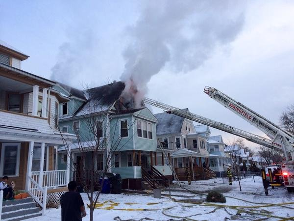 Fire crews battles flames at 105 Mass. Ave. in Springfield Tuesday afternoon. (MassLive)