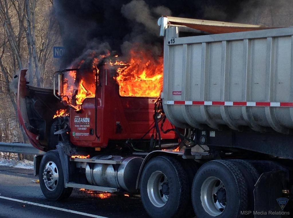 A truck fire closed I-91 north in Longmeadow. (MSP)