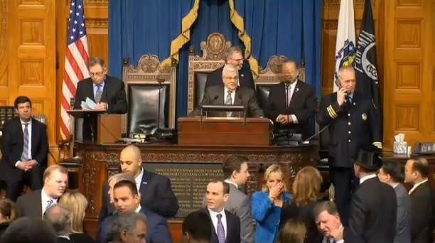 Gov.-elect Charlie Baker was sworn in at noon at the Massachusetts State House.