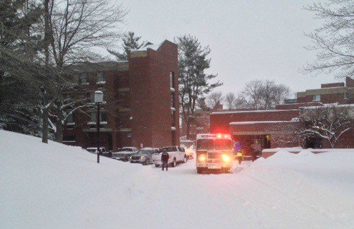 Amherst police and other emergency crews responded to Hampshire College on Monday due to high levels of carbon monoxide reported in the dinning commons.