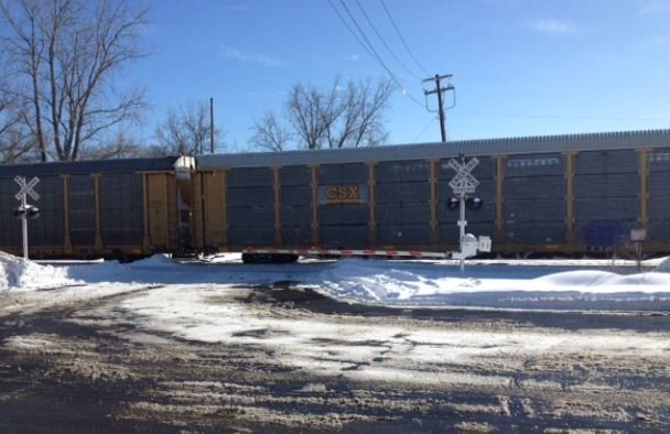 Disabled train blocking Front Street in West Springfield.