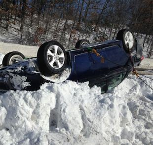 Rollover accident on Rt. 2 in Leominster (Massachusetts State Police Media Relations)