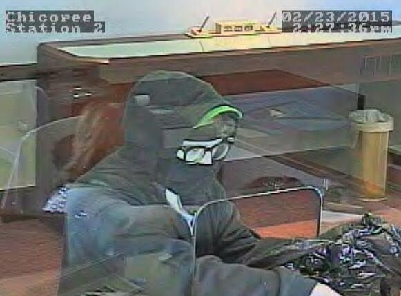 Chicopee Police are looking for a masked man who robbed a bank on Center Street on Monday. (Chicopee Police Depatment)