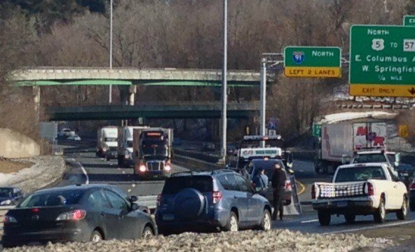 An accident on the Longmeadow curve caused traffic delays on Wednesday morning.