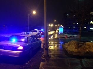 Detectives investigate after a 26-year-old man was stabbed to death in the parking lot of the Friends of the Homeless facility at 769 Worthington St.